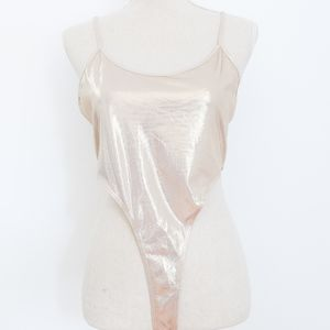 Ultra High Cut Metallic Champagne Bodysuit